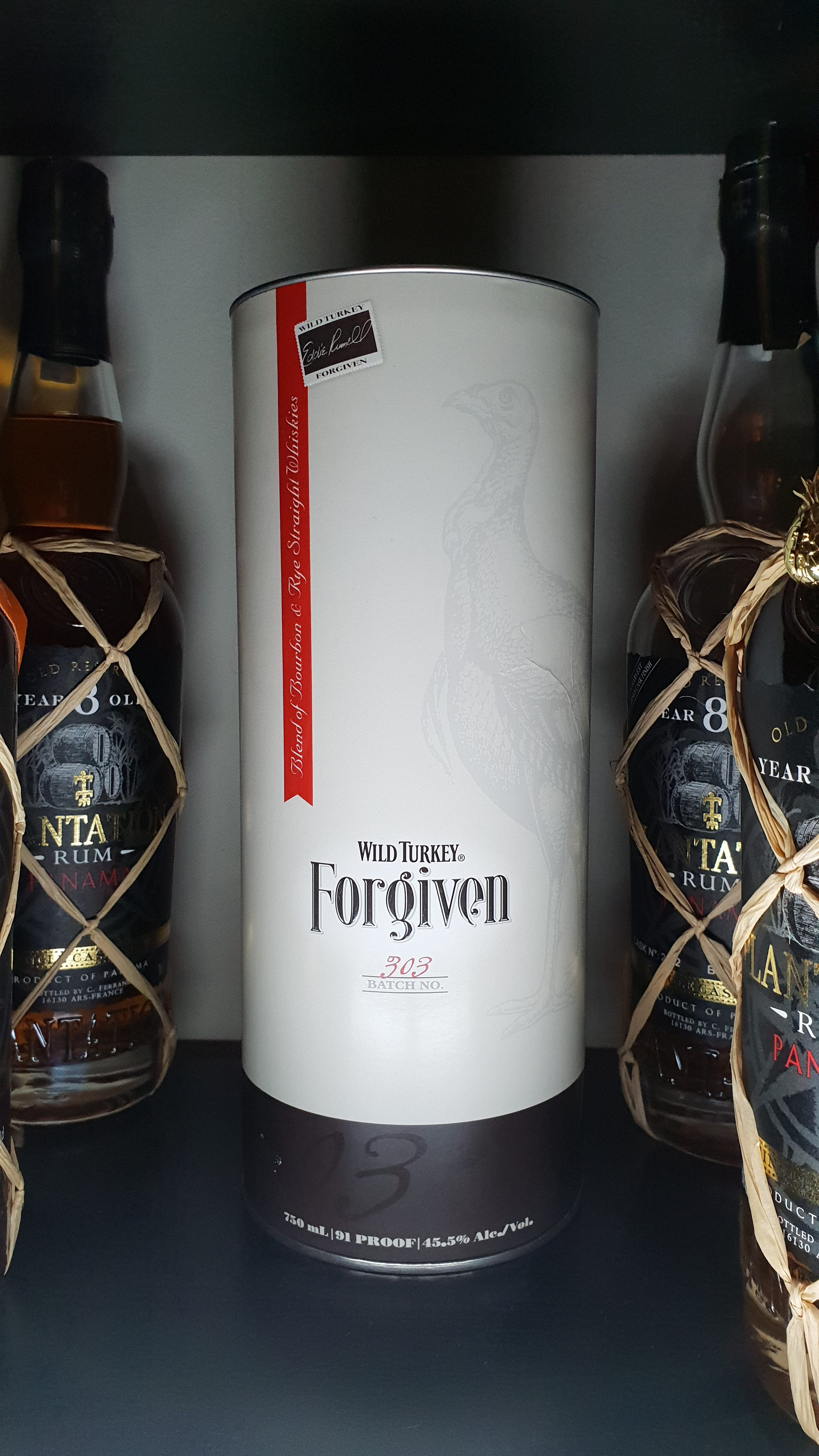 Wild Turkey Forgiven is a blend of 78% six-year-old bourbon and 22% four-year-old rye whiskies. Apparently initially produced due to a mix-up at the distillery, the result was so good they decided to release it.