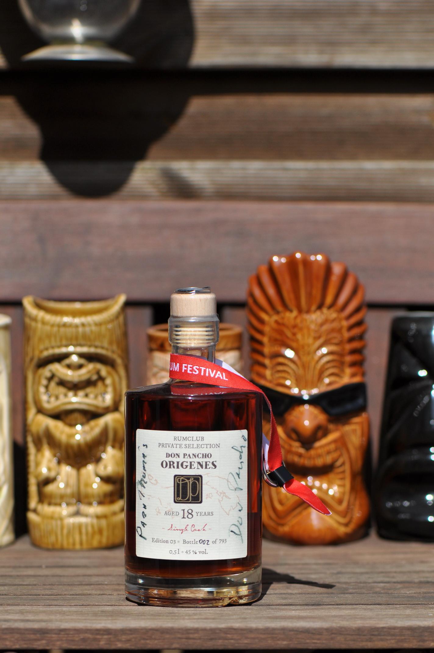 Private Rumclub Selection – Don Pancho Origines 18 JahreEdition 03, Flasche Nr. 002 von 793.2017 mit der persönlichen Unterschrift von Don Pancho.