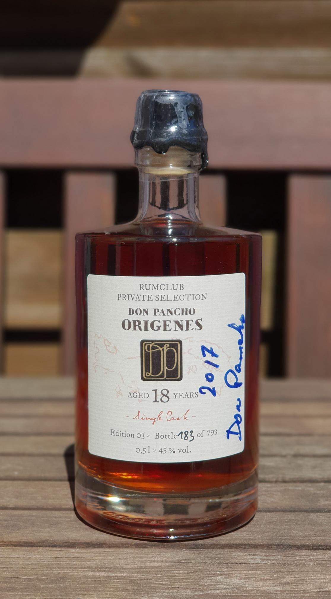 Private Rumclub Selection – Don Pancho Origines 18 JahreEdition 03, Flasche Nr. 183 von 793.2017 mit der Unterschrift von Don Pancho.