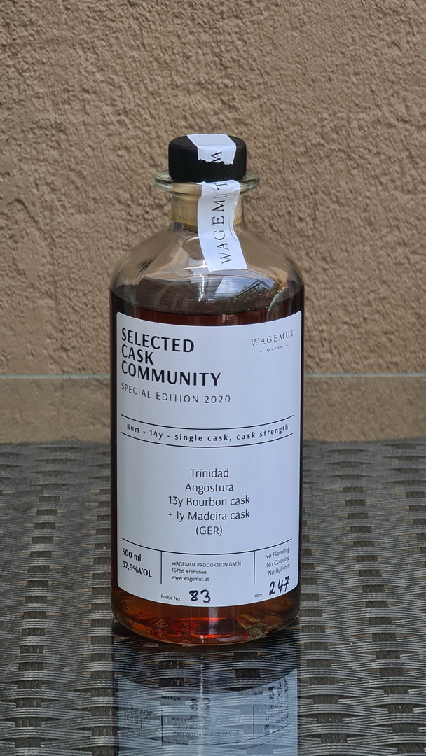 Selected Cask Community - Special Edition 2020Rum 14y - single cask - TrinidadAngostura13y Ex-Bourbon + 1y Madeira57,09%VOL.